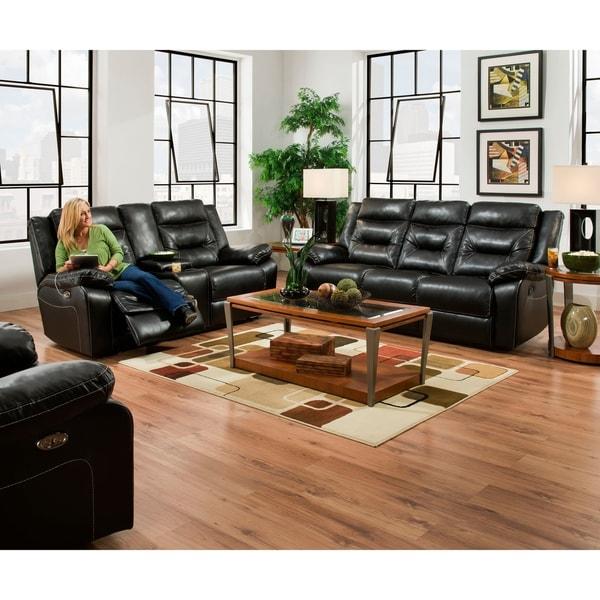 Shop Simmons Upholstery Yahtzee Onyx Double Motion Console