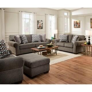 Simmons Upholstery Tokyo Pebble and Poplar Aluminum Loveseat