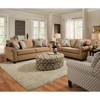 Simmons Upholstery Amber Linen Oval Ottoman