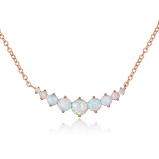 Rose Gold Plated & White Fire Opal Graduated Necklace