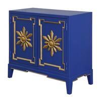 Golden Flower Overlay Royal Blue 2 - Door Cabinet