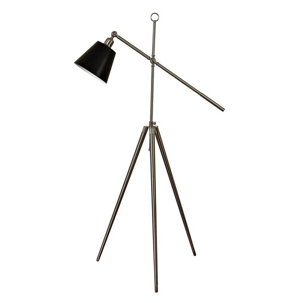 Brushed Steel Floor Lamp - Black Metal Shade