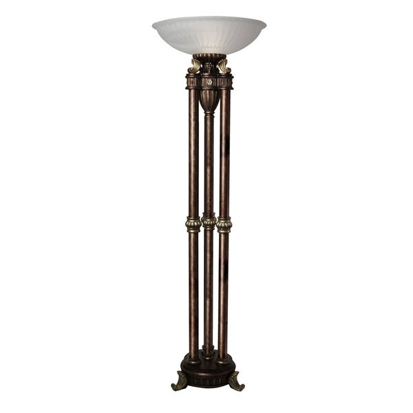 StyleCraft Majestic Gold Floor Lamp - Frosted Glass Shade