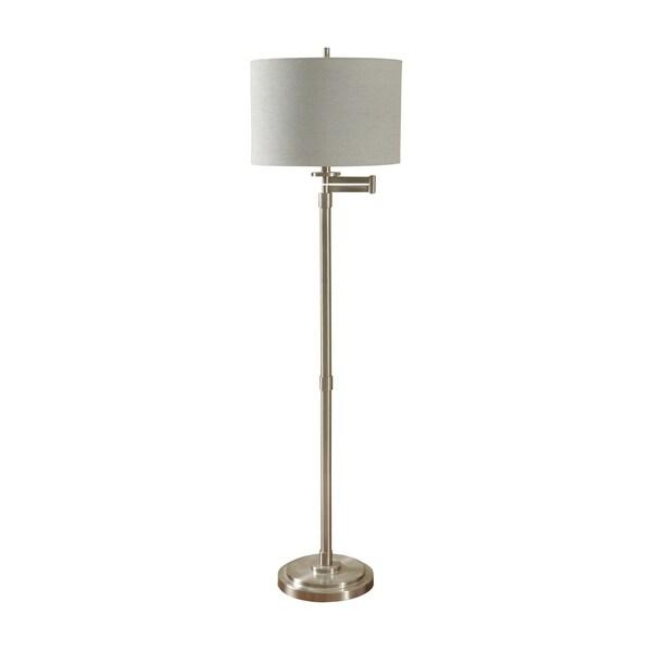 Brushed Steel Floor Lamp - White Hardback Fabric Shade