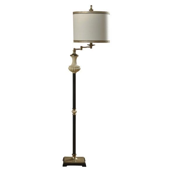 Dayton Black, Oyster, And Gold Floor Lamp - Beige Hardback Fabric Shade