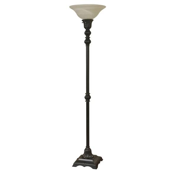 Madison Bronze Floor Lamp - White Glass Shade