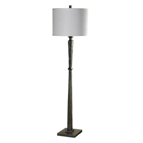 William Magnum Valley Forge Black Floor Lamp - White Hardback Fabric Shade
