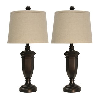 Madison Bronze Table Lamp - Beige Hardback Fabric Shade (Set of 2)