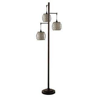 StyleCraft Bronze Floor Lamp - Geneva Ivory Hardback Fabric Shade