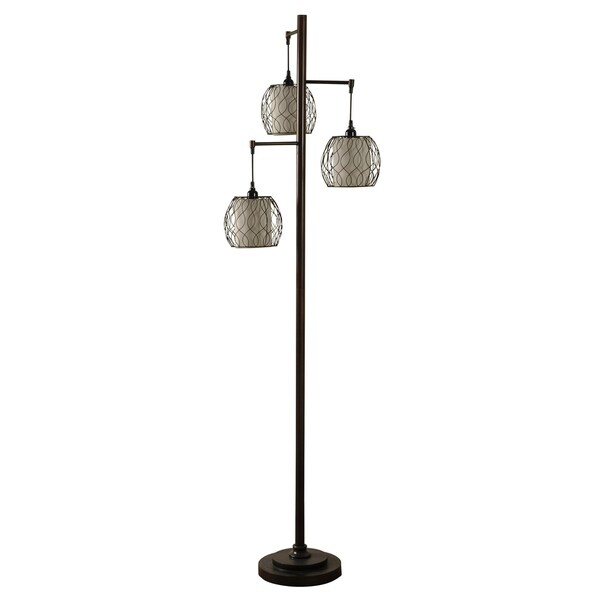 Bronze Floor Lamp - Geneva Ivory Hardback Fabric Shade
