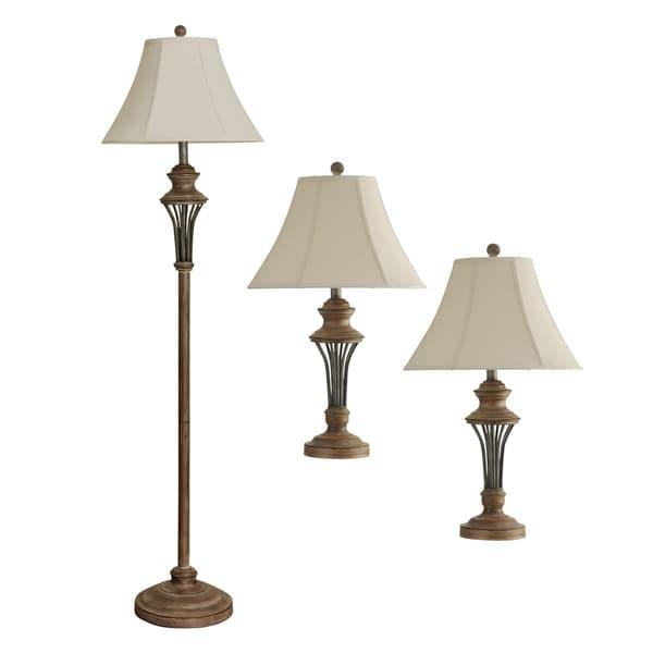 Moraga Natural Wood Table and Floor Lamp Set - Cream Fabric Shade (Set of 3)