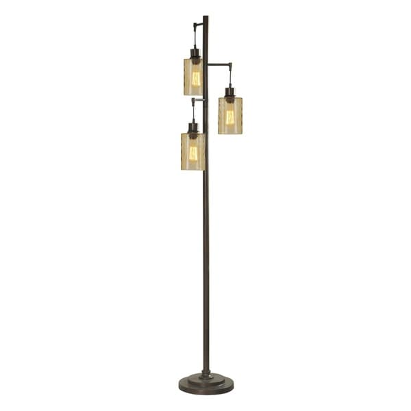 StyleCraft Bronze Floor Lamp - Clear Glass Shade