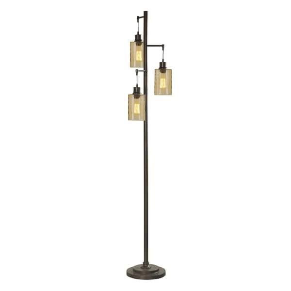 Bronze Champagne Pendant Dimpled Floor Lamp