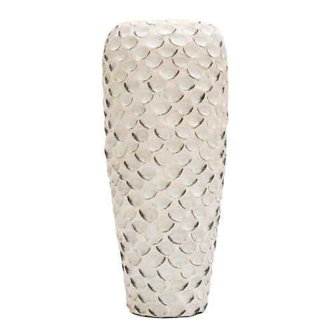 StyleCraft White Abalone Shell and Ceramic Vase