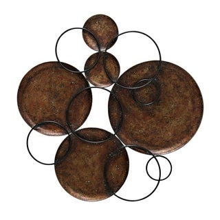 StyleCraft Hammered Copper Circles Connected By Black Metal Circles Wall Art