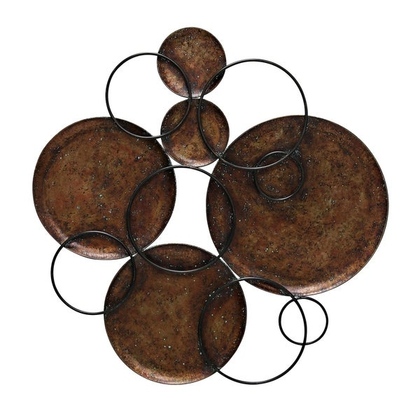 Shop Hammered Copper Circles Connected By Black Metal Circles Wall ...