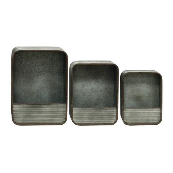 Rectangular Decorative Gray Metal Wall Storage (Set of 3)