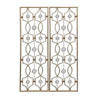 StyleCraft Gold Metal Wall Art With Mirror Dots (Set Of 2)