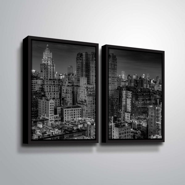ArtWall Richard James 'UWS at Dusk' 2 Piece Floater Framed Canvas Set