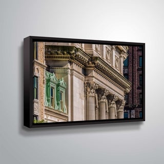 ArtWall Richard James 'Classical Façade' Gallery Wrapped Floater-framed Canvas - Brown