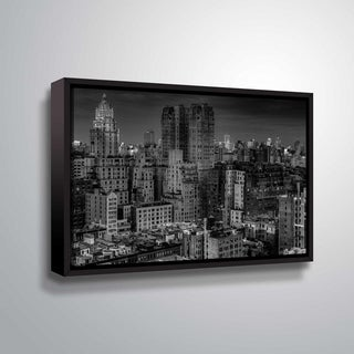 ArtWall Richard James 'UWS at Dusk' Gallery Wrapped Floater-framed Canvas