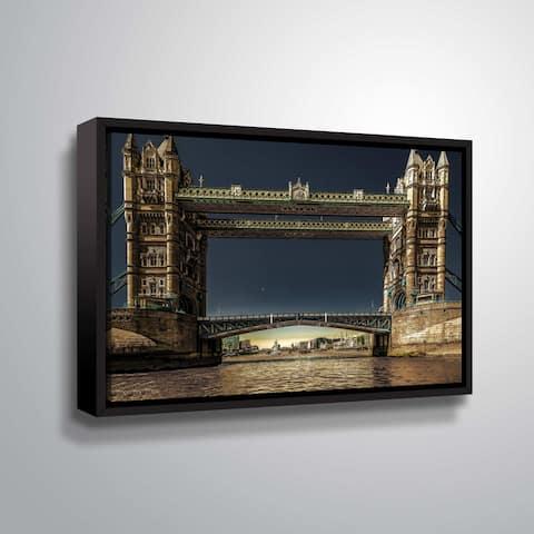 ArtWall Richard James 'Tower Bridge' Gallery Wrapped Floater-framed Canvas - Blue