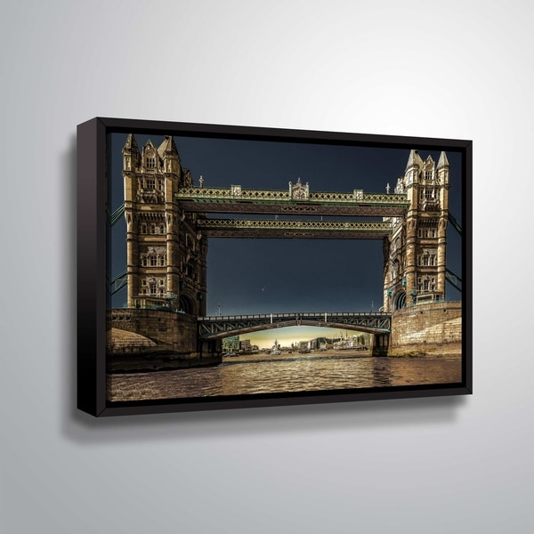 ArtWall Richard James 'Tower Bridge' Gallery Wrapped Floater-framed Canvas - Blue