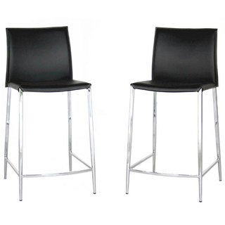 """Modern Black Faux Leather 26"""" Counter Stool by Baxton Studio"""