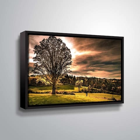 ArtWall Richard James 'Tree at Dusk' Gallery Wrapped Floater-framed Canvas - Green