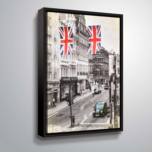 ArtWall Daniel Stein 'London Street Scene' Gallery Wrapped Floater-framed Canvas - Grey