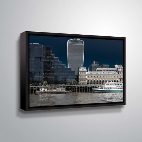 ArtWall Richard James 'Fenchurch Thames' Gallery Wrapped Floater-framed Canvas - Grey