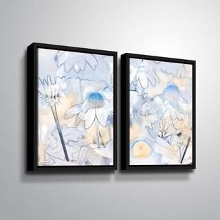 ArtWall Julie Mann Sperry 'Painting the daisies #2' 2 Piece Floater Framed Canvas Set