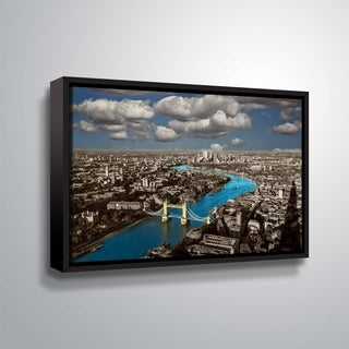 ArtWall Daniel Stein 'Thames River Aerial' Gallery Wrapped Floater-framed Canvas - Grey