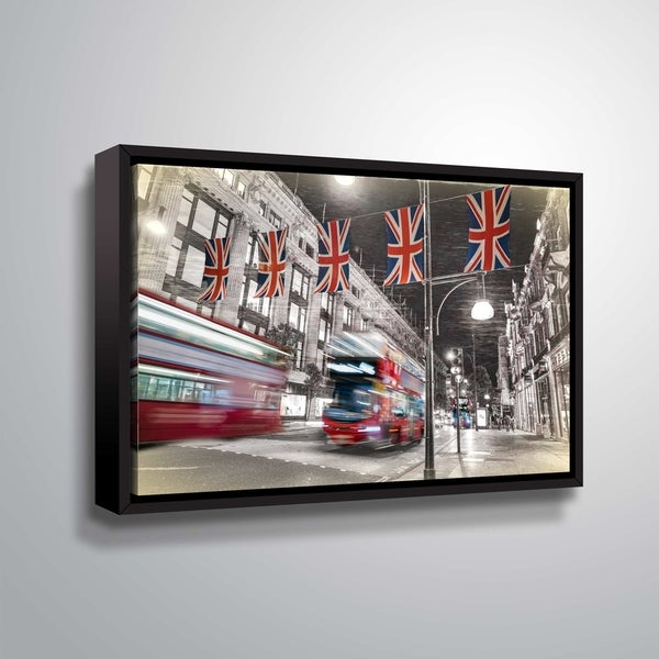 ArtWall Daniel Stein 'London Bus Scene' Gallery Wrapped Floater-framed Canvas - Grey