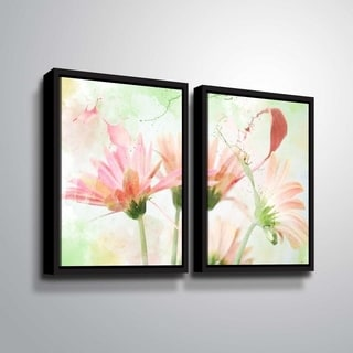 ArtWall Julie Mann Sperry 'Giving the daisies color A' 2 Piece Floater Framed Canvas Set