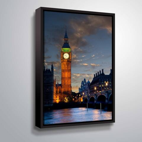 ArtWall Daniel Stein 'Big Ben Sunset' Gallery Wrapped Floater-framed Canvas - Blue
