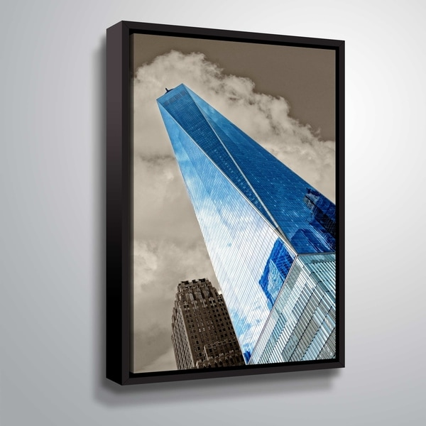 ArtWall Daniel Stein 'One World Trade Center' Gallery Wrapped Floater-framed Canvas - Grey