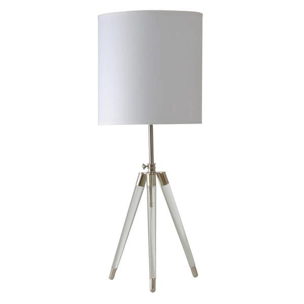 StyleCraft Crystal Table Lamp - White Hardback Fabric Shade