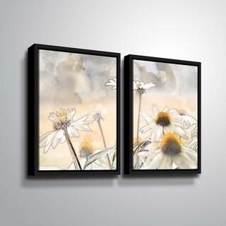 ArtWall Julie Mann Sperry 'Painting the daisies #1' 2 Piece Floater Framed Canvas Set
