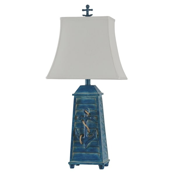 Cogra Bay Blue Table Lamp - White Softback Fabric Shade