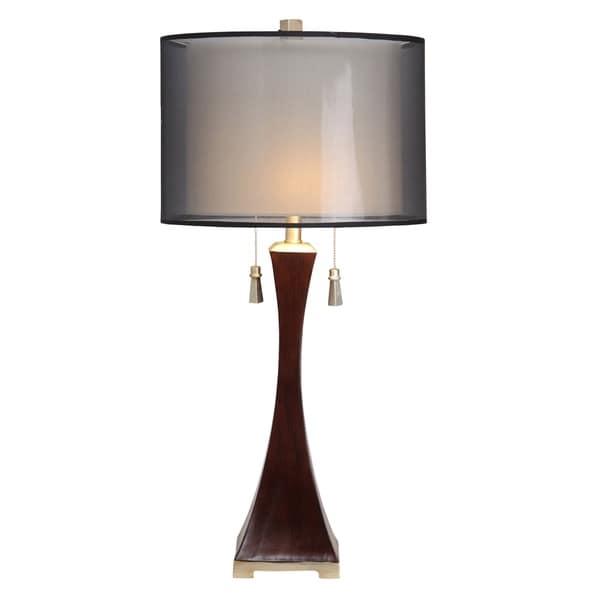 Contemporary Espresso Table Lamp - Grey Hardback Fabric Shade