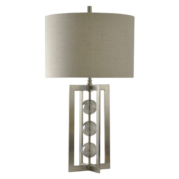 Fenna Glass and Brushed Steel Table Lamp - Taupe Hardback Fabric Shade