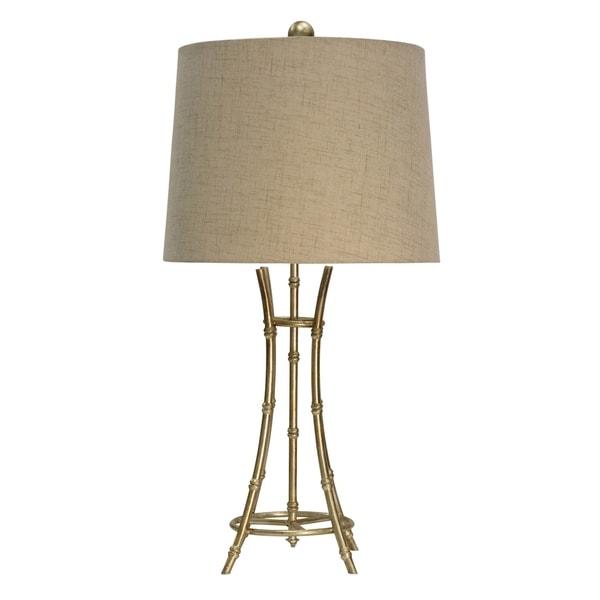 Champagne Silver Table Lamp - Beige Hardback Fabric Shade
