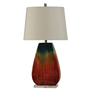 Montenegro Red And Blue Glaze Ceramic Table Lamp   White Hardback Fabric  Shade