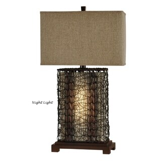 Free Port Dark Brown Table Lamp - Brown Linen Shade