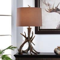 Dalton Dark Brown Table Lamp - Black Hardback Fabric Shade