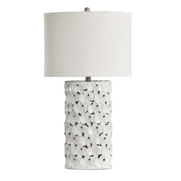 Halifax White Glaze Ceramic Table Lamp - White Hardback Fabric Shade