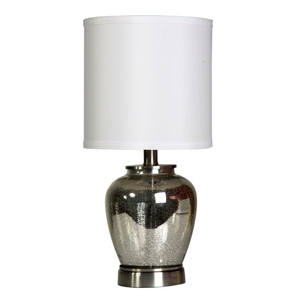 StyleCraft Silver Table Lamp - White Hardback Fabric Shade