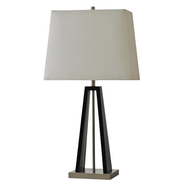 StyleCraft Passau Black and Brushed Steel Table Lamp - White Hardback Fabric Shade