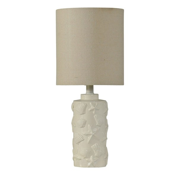 StyleCraft Seashell Motif White Table Lamp - White Hardback Fabric Shade